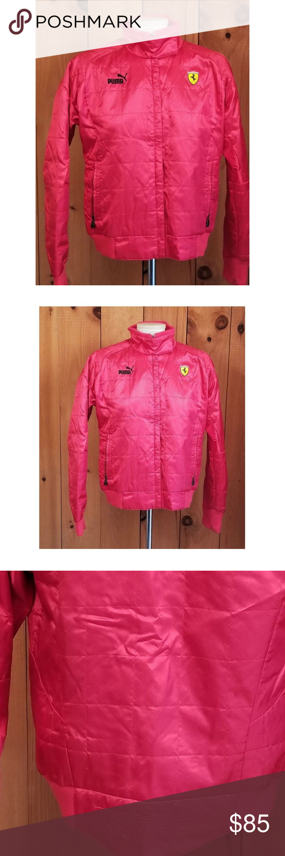 9d512540975c Ferrari Puma Women s Zip Up Jacket Size Medium FERRARI PUMA Red Quilted  Sponsor Zip Up Jacket Women s Medium polyester blend