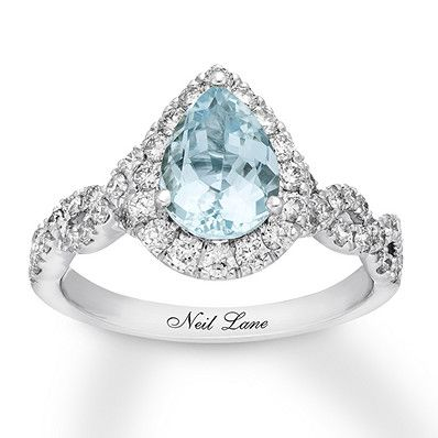 Neil Lane Aquamarine Engagement Ring 3/4 cttw Diamonds 14K Gold #aquamarineengagementring
