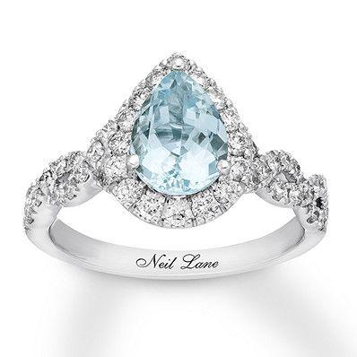 Neil Lane Aquamarine Engagement Ring 3/4 cttw Diamonds 14K Gold #aquamarineengagementring