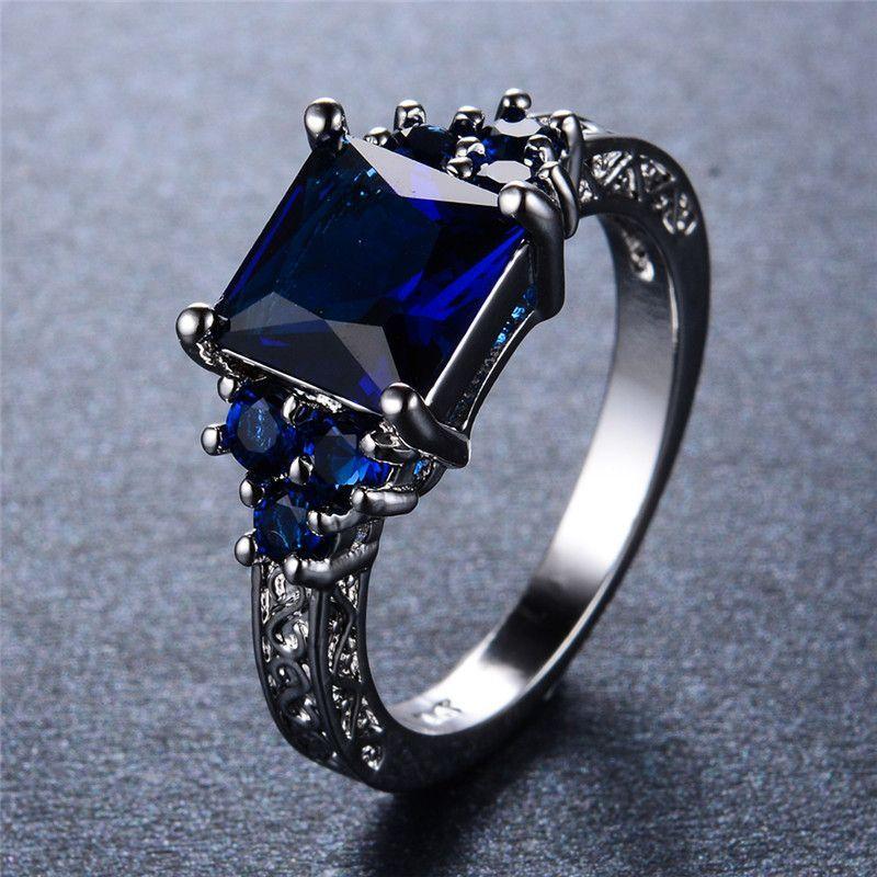 Princess Cut Blue Sapphire CZ Diamond Ring - White Gold Filled