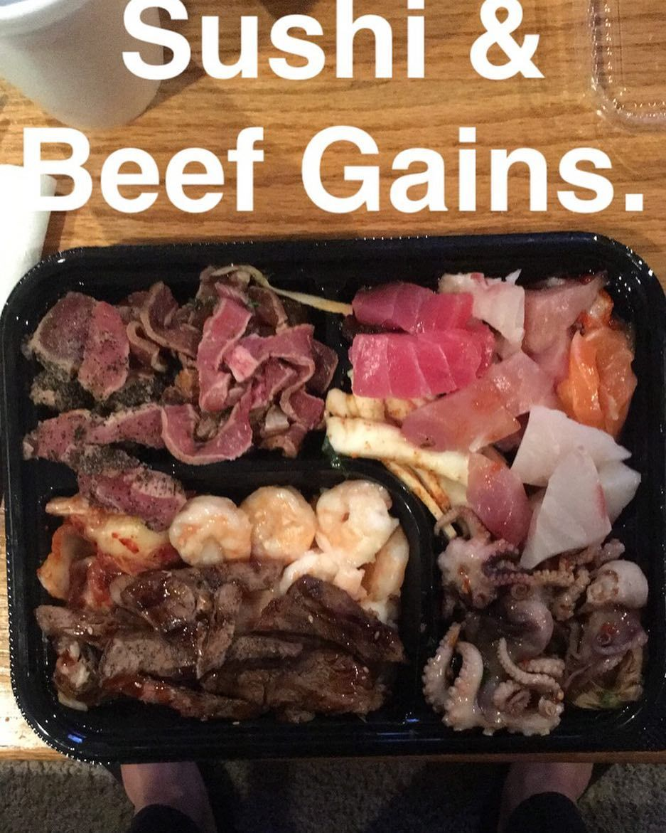 Tonight's dinner consisted a plethora of meaty goodness.  #dinner #sushi #beef #gainpost #gains #contestprep #keto #diet #health #nutrition #food #foodie #foodporn #foodmakesmehard #instagood #instafood #foodstagram #fit #fitfam #fitness #flex #muscle #npc #bodybuilding #eatclean #training #gymlife #nofilter #noshit #yourmom by mattchristnpc