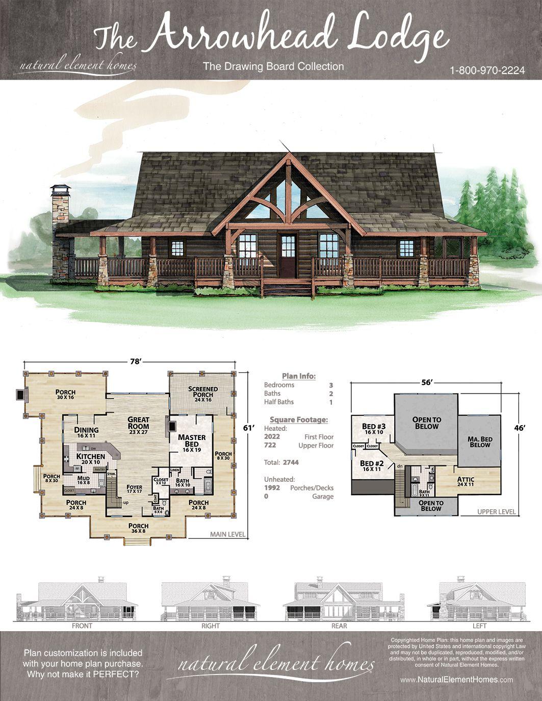 Arrowhead Lodge Lake House Plans Cabin House Plans Dream House Plans