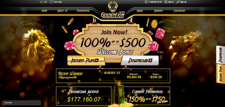 Blue Lions Casino Bonus Code