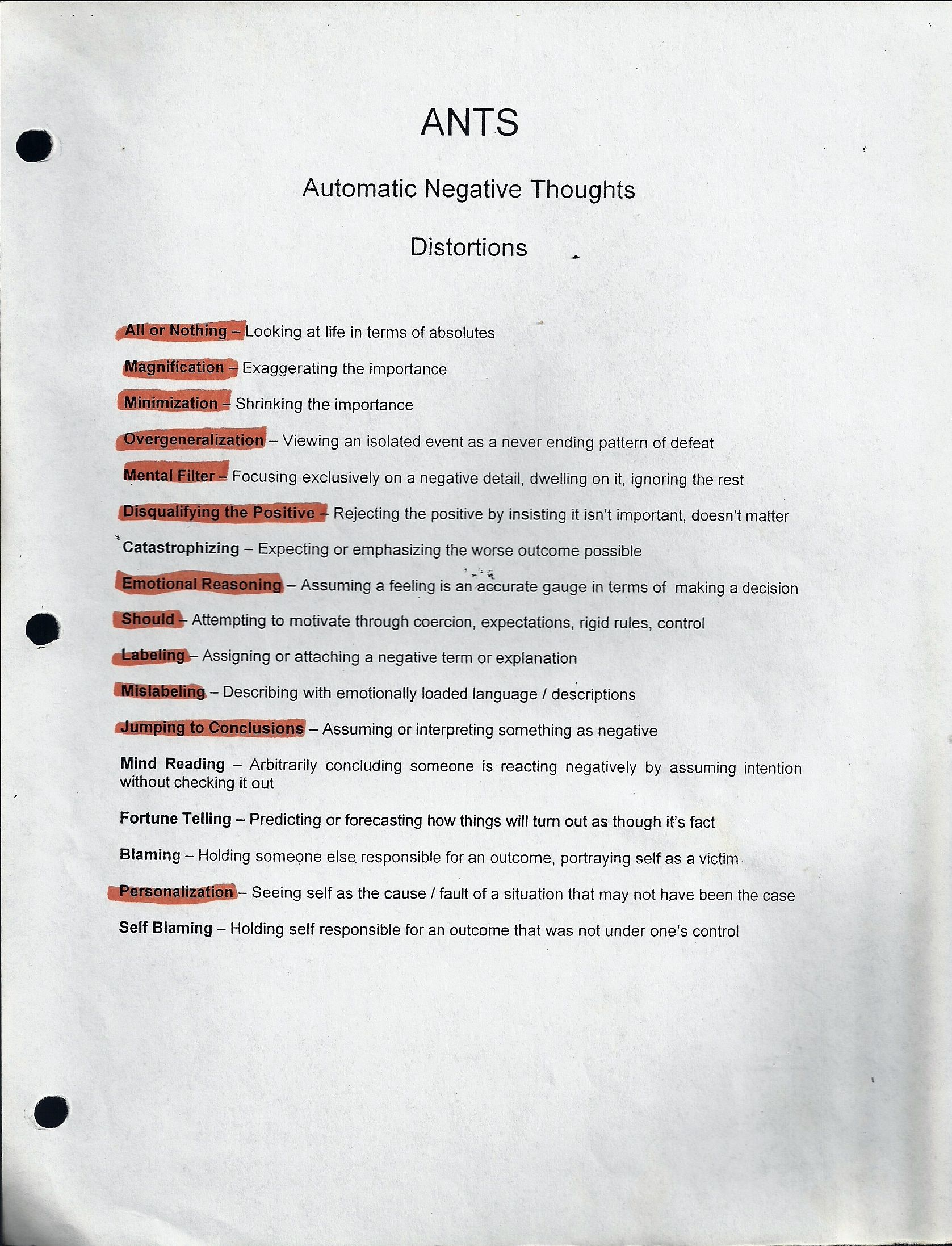 Automatic negative thoughts ants guidance for work