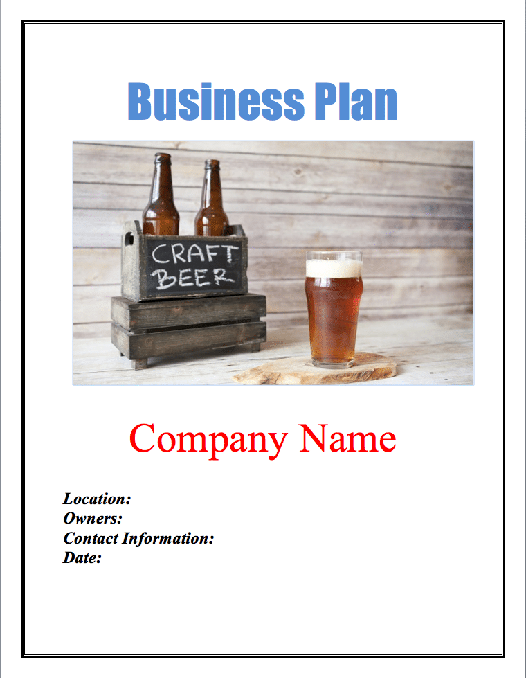 Microbrewery Business Plan Template Sample Pages in 2020