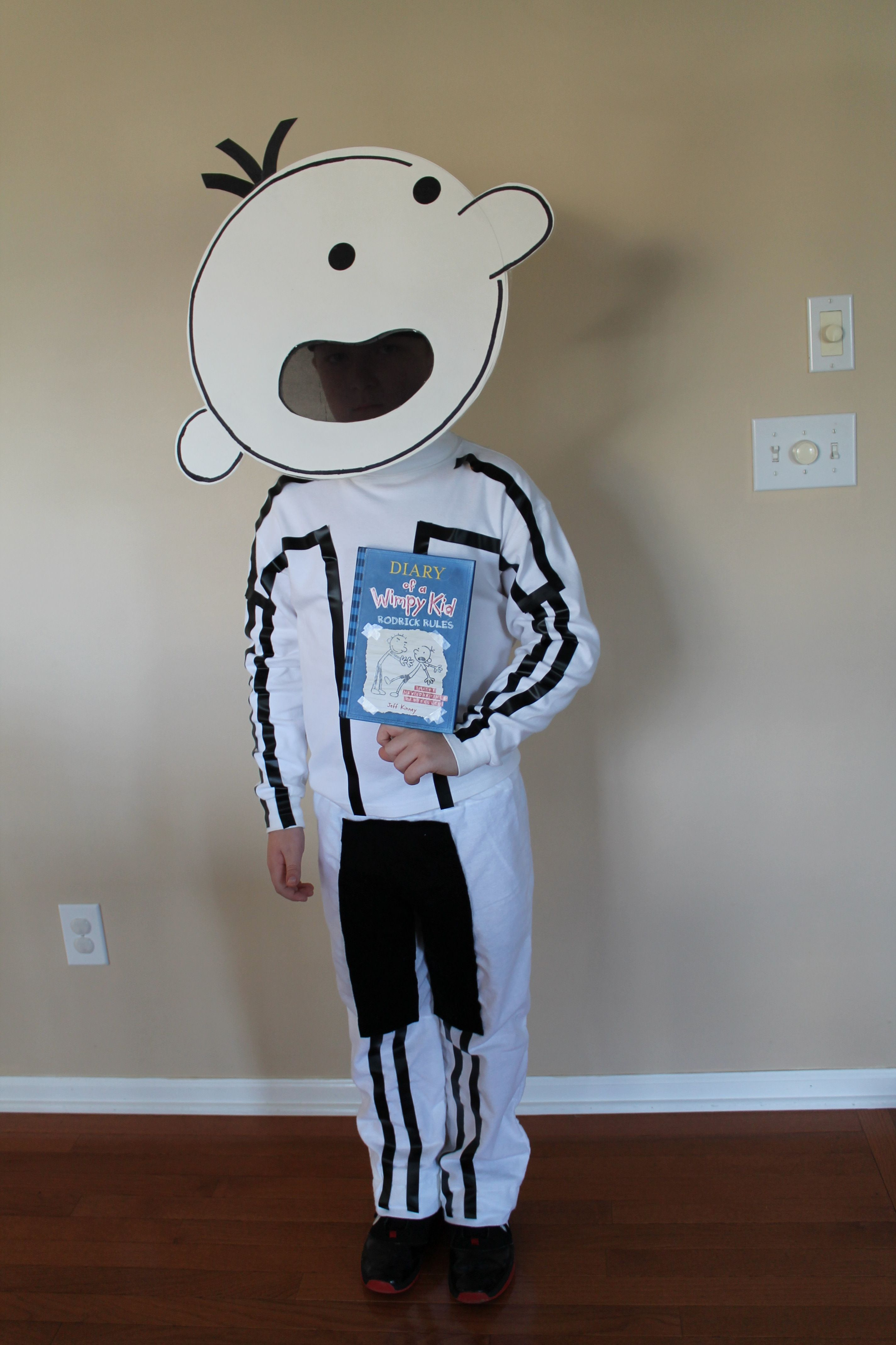 diary of a wimpy kid halloween costume electrical tape and a tag board head attached to the back of a baseball cap kevin last year