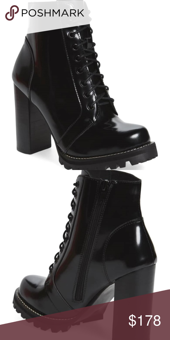 9d3b7f6c530 Jeffrey Campbell High Heel Lace Up Boot Black Box Leather , Size 7 ...