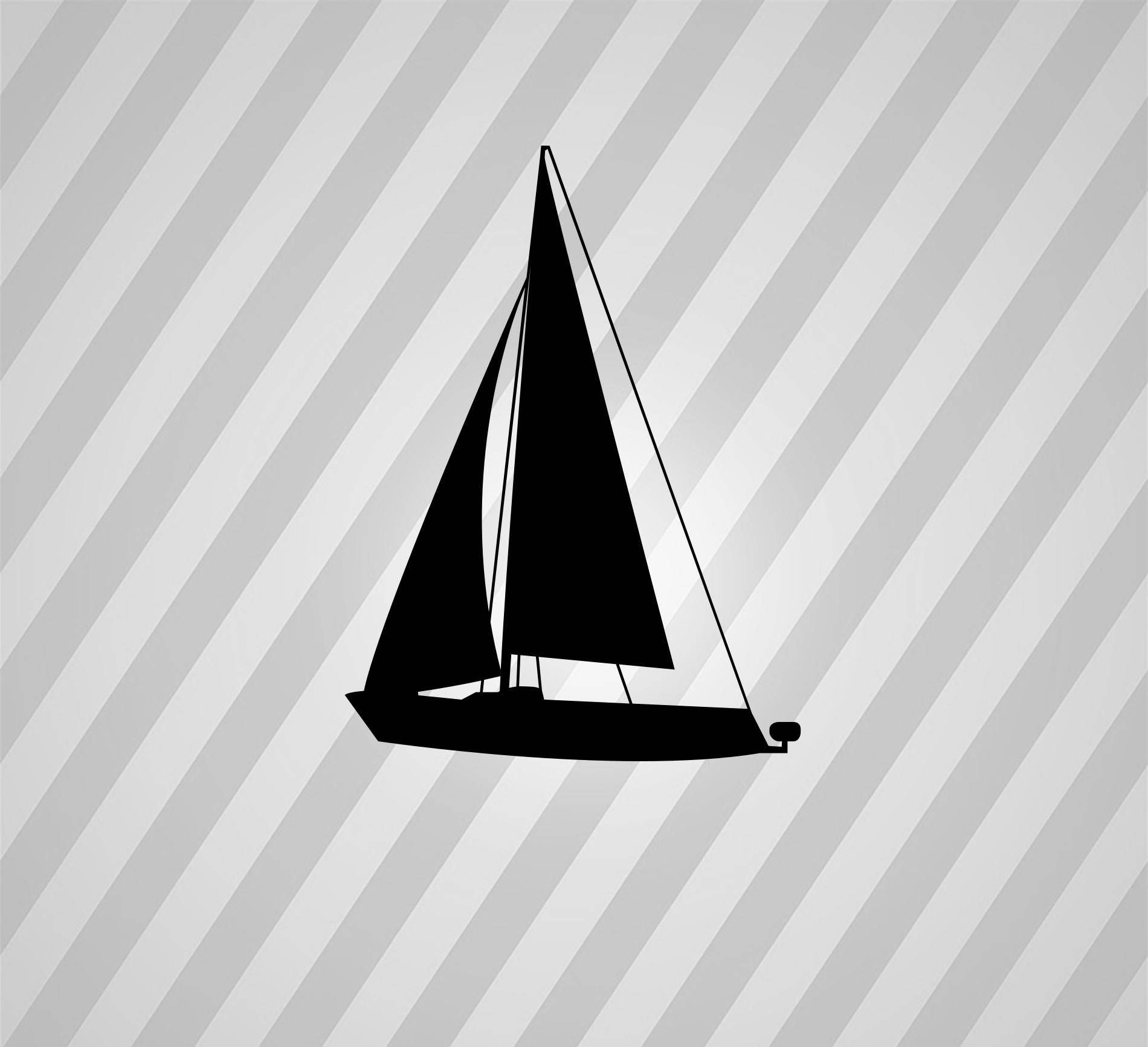 sailboat silhouette sail boat - svg dxf eps silhouette rld rdworks