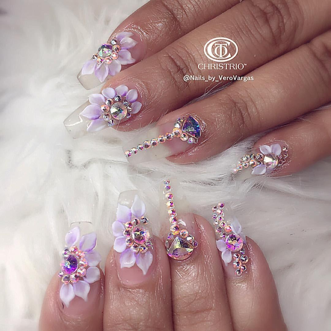 Clear 3d Flowers Swarovski Stones Nail Art Con Imagenes Unas