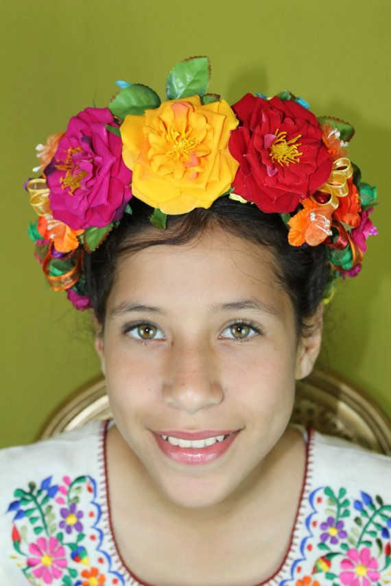 Frida kahlo floral headband floral crown floral headpiece mexican party flowers colourful day of - Deguisement frida kahlo ...