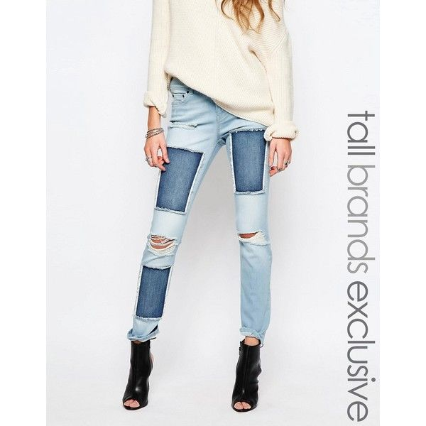 Noisy May Tall Scarlet Patched Jean (£24) ❤ liked on Polyvore featuring jeans, blue, straight-leg jeans, super skinny jeans, skinny jeans, white stretch jeans and stretch jeans
