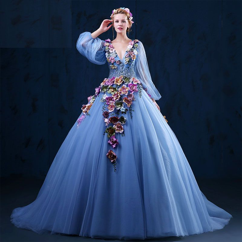 Aliexpress.com : Buy women Dress Top Sale Blue Organza Period ...