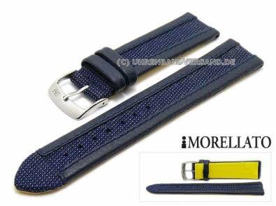 Watch strap -Kite- 18mm dark blue leather Kevlar grained stitched MORELLATO (width of buckle 16 mm) - Bild vergrößern