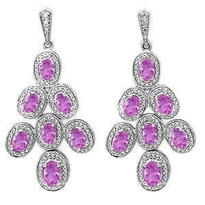 Jared LabCreated Pink Sapphire Earrings Sterling silver 12730