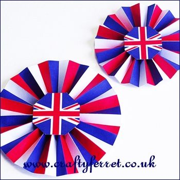 Free printable British flag Union Jack red, white and blue rosette