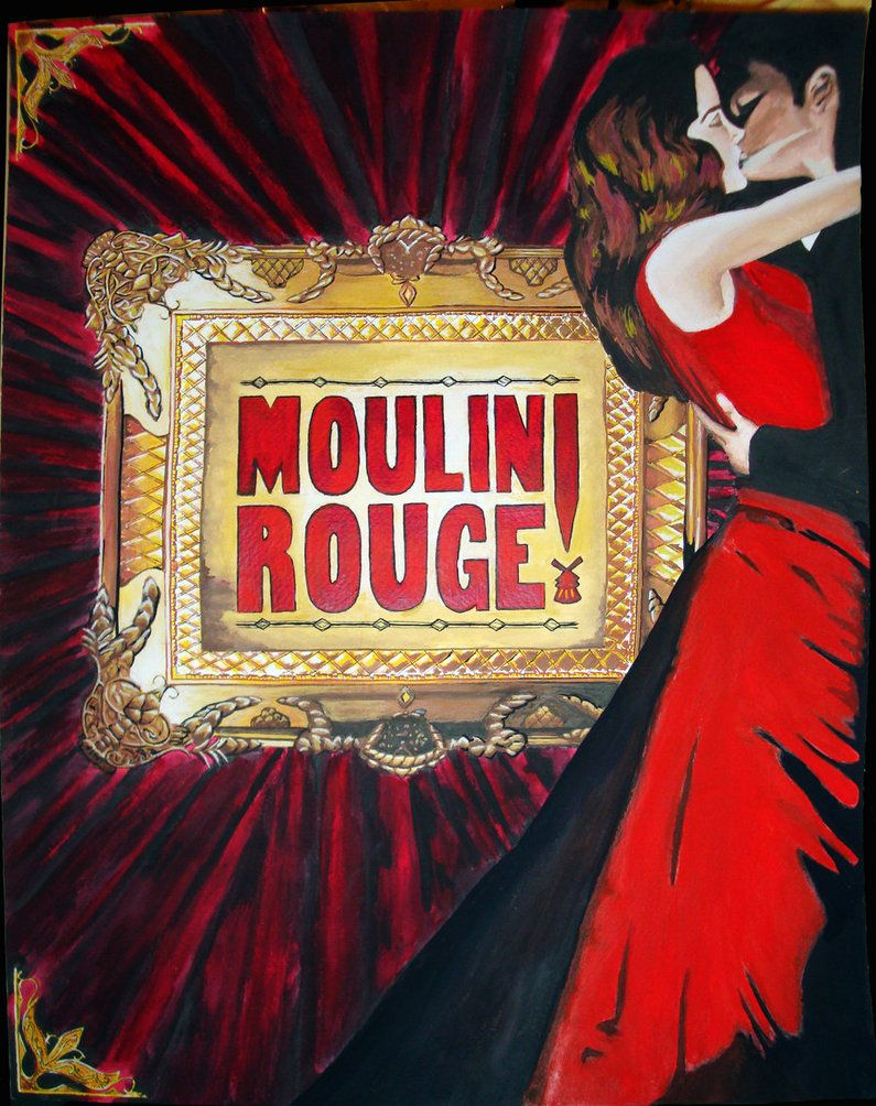 Watercolor of Moulin Rouge movie poster