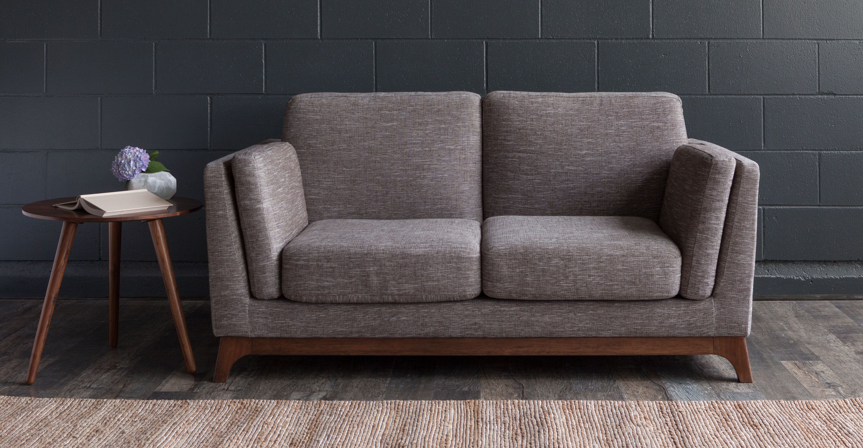 Ceni Volcanic Gray Loveseat Scandinavian Furniture Love Seat