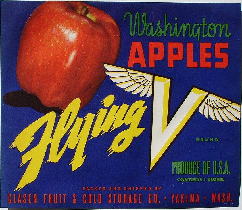 Yakima Washington State Repetition Apple Fruit Crate Label Vintage Art Print