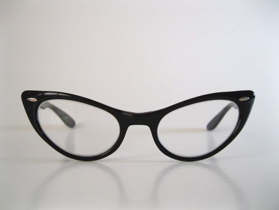 1950s Black Cat Eye Glasses Eyewear Mad Men Fall Style Halloween