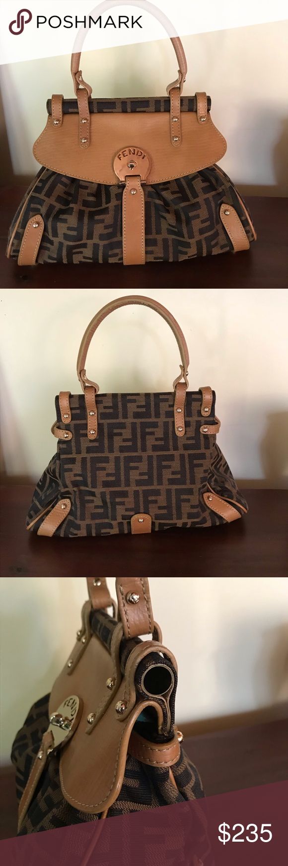 b0e4a41a110 FENDI Zucca Monogram Canvas Leather Purse Bag Fendi handbag. Brown leather  with logo canvas.