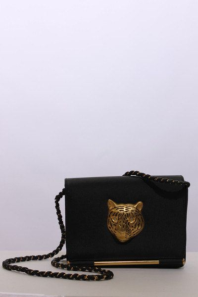 28cf9e07c2 80s glam chain strap wild cat purse handbag shoulder bag black fabric  brushed gold rhinestone eyes leopard tiger fierce party over the top