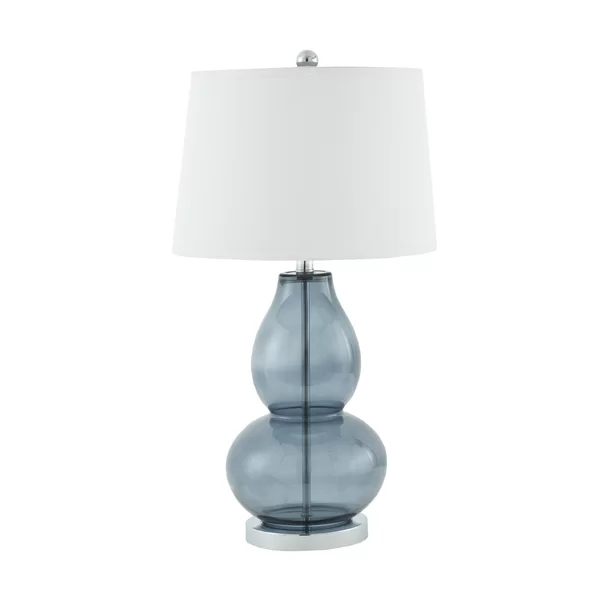 This 28 Table Lamp Set Brings A Touch Of Elegance This Blue Glass And Metal Table Lamp Features A Stylized Curved Drum Shape Lamp Shade Table Lamp Sets Lamp