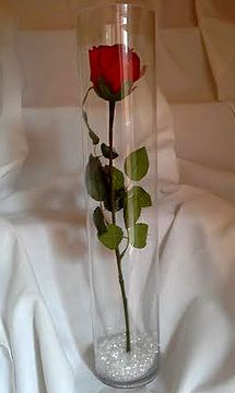 Single Red Rose In Vase Centerpiece Google Search Red