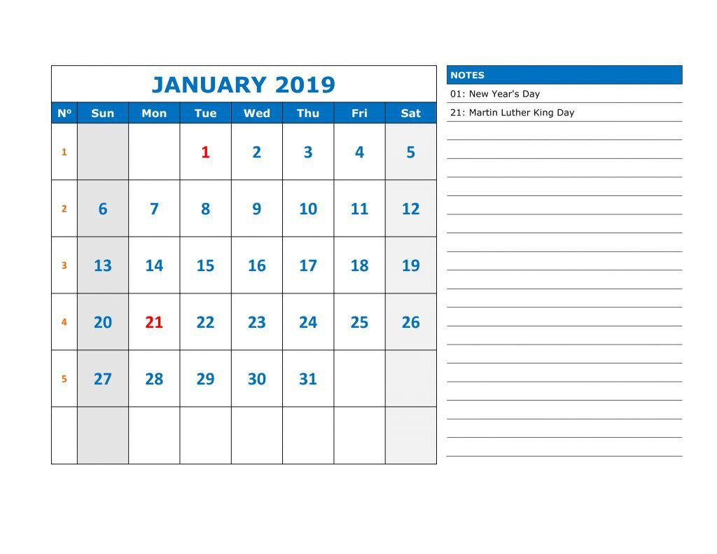 Daily Calendar 2019 January 2019 January Daily Calendar #Printable | Blank 2019 January