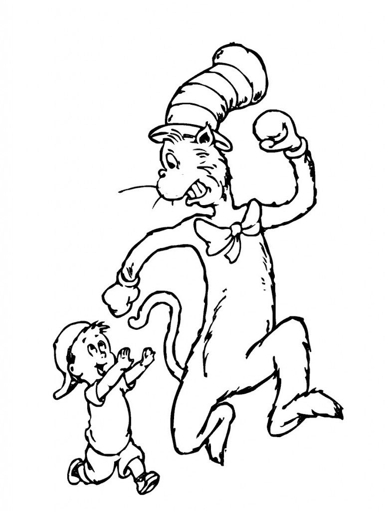 Free Printable Cat in the Hat Coloring Pages For Kids | Pinterest ...