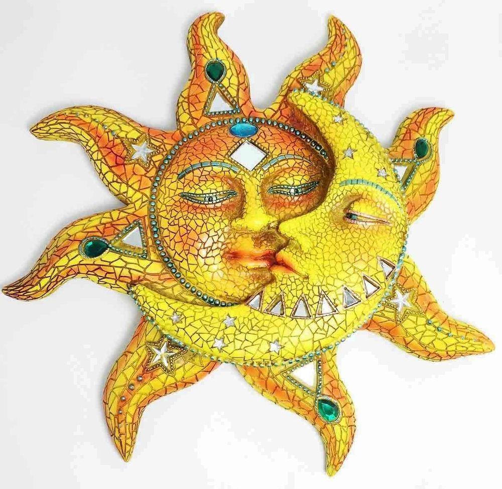 Beautiful Mosaic Celestial Sun and Moon Wall Sculpture Plaque Resin ...
