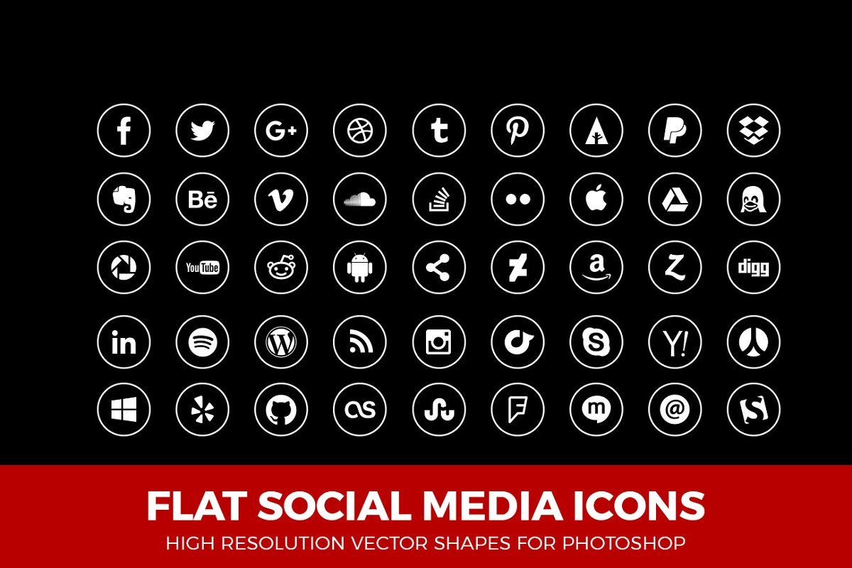 Social Media Icons Circle Line White Social media icons