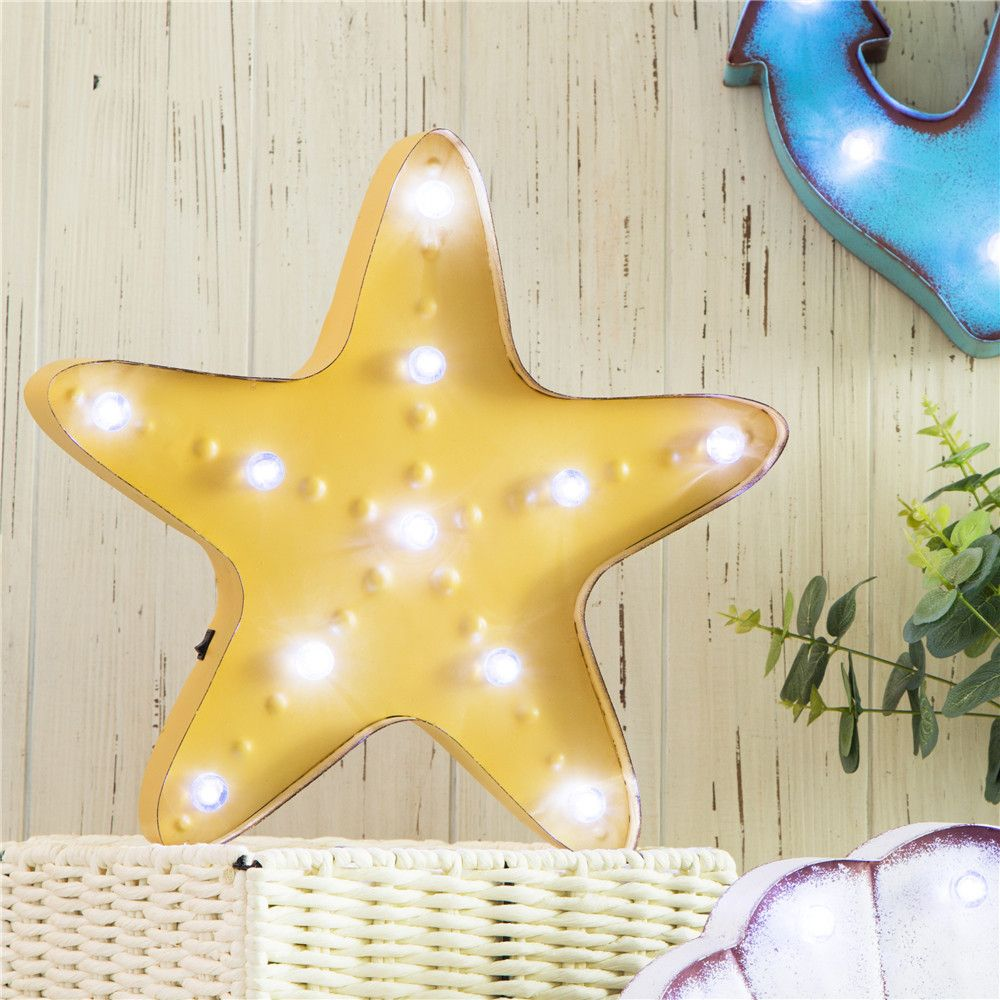 Vintage Marquee LED Lighted Starfish Sign Wall Decor Battery ...