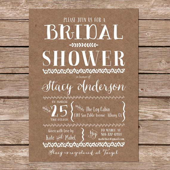 rustic bridal shower invitation kraft bridal shower invitation country bridal shower invite printable invite printed invites