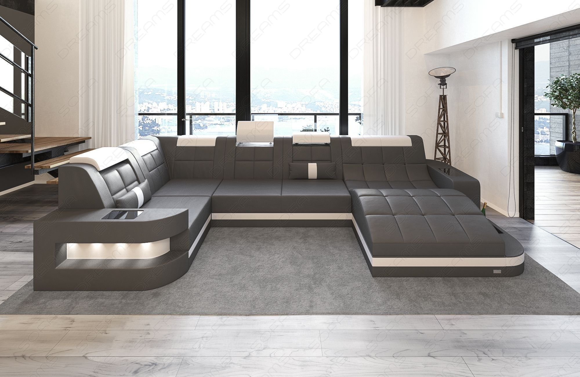 Modern Design Sofa Jacksonville XL with LED black Mineva 14