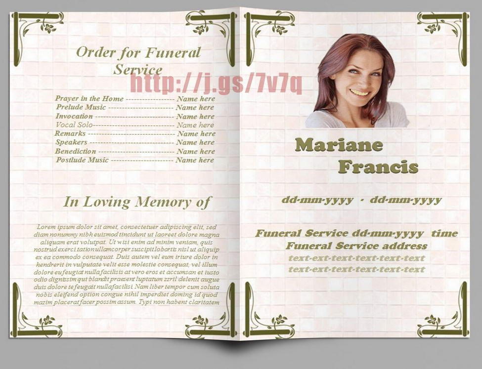 Memorial Programs In Spanish  Funeral Program Templates For Ms