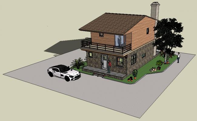 3d Modern House Design In Sketchup File Dimensions House