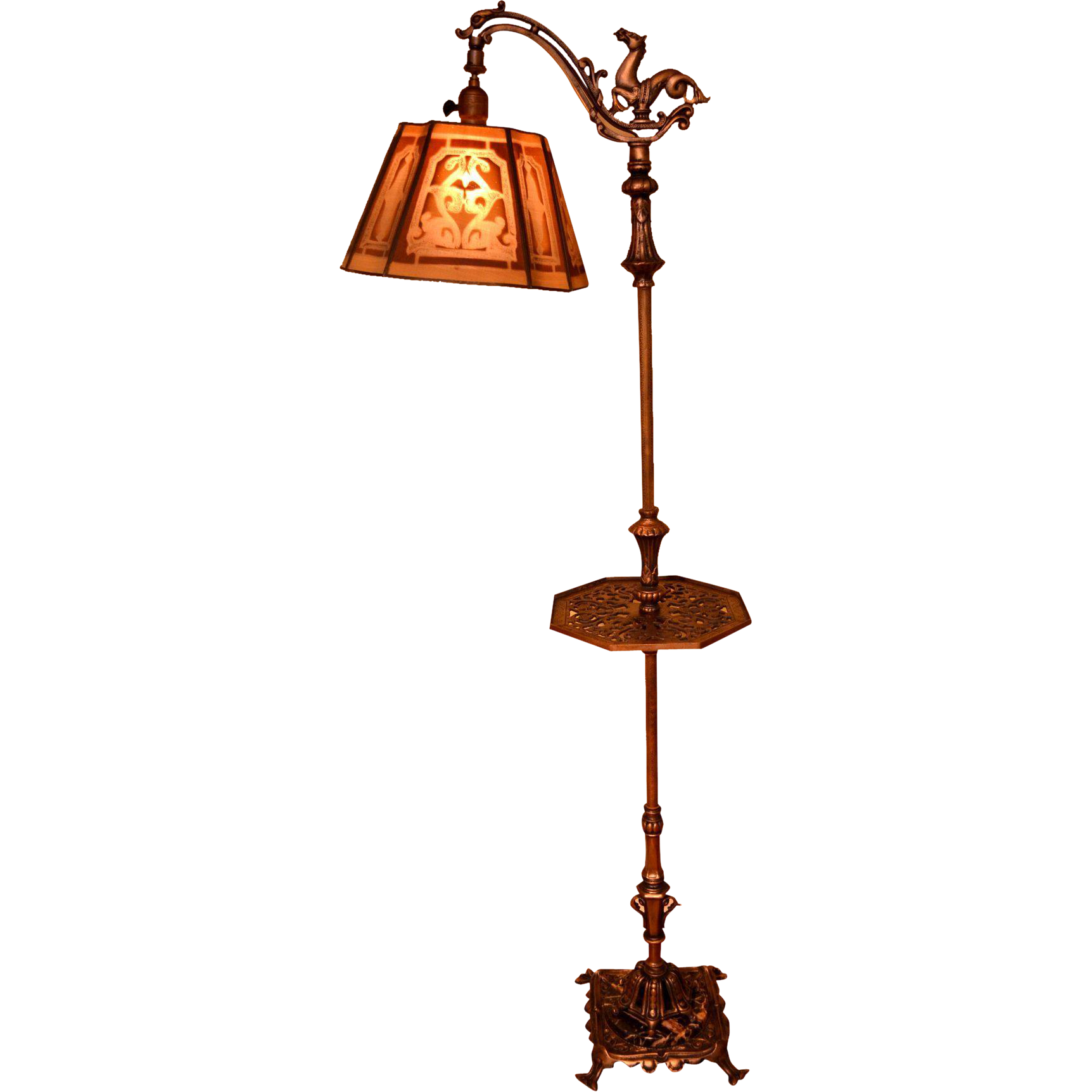 Rembrandt Floor Lamp With Horse Bridge And Screen Mesh Shade