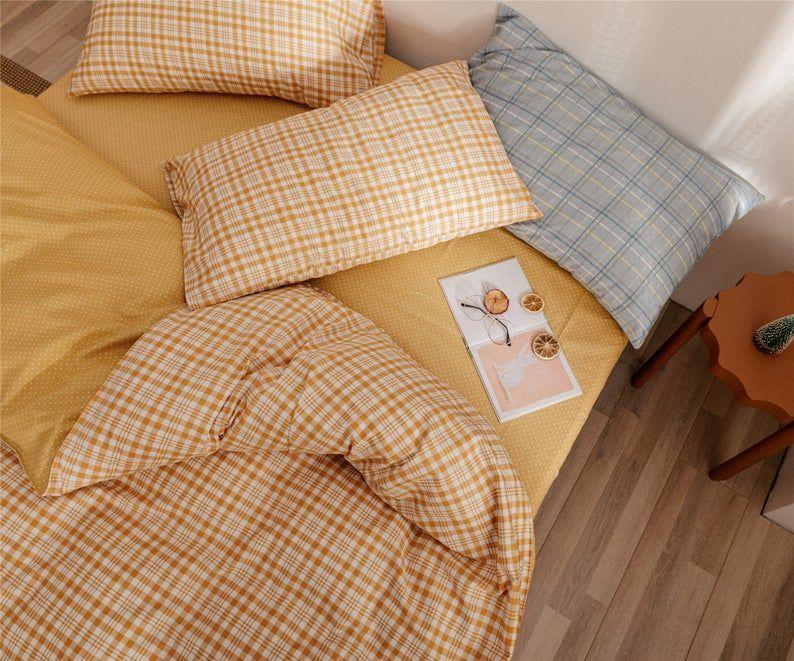 Lattice Cotton Duvet Cover Set Yellow White Check Bedding Set Etsy Duvet Cover Sets Bedding Set Duvet Covers