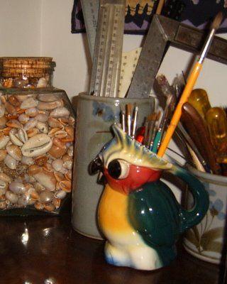 sea shells#rulers#paint brushes#beautiful owl pitcher holding brushes>>>ew4262012