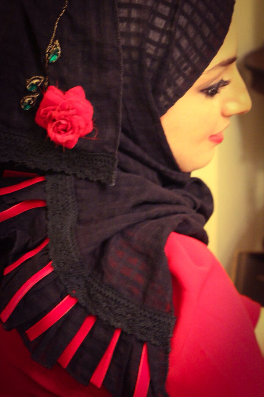 Hijab with embroidery, stones & flower. Wardh & Lace collection.  https://www.facebook.com/pages/Wardh-Lace/709028722465751