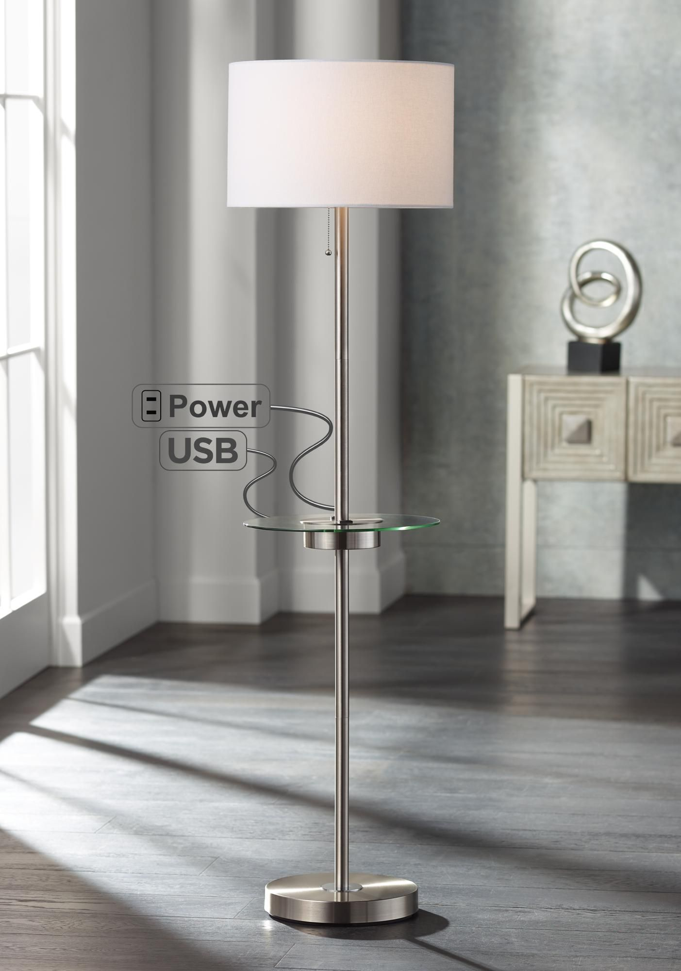 Floor Lamps Caper Nickel Tray Table Floor Lamp With Usb Port And Outlet Modern Floor Lamps Floor Lamp Table Contemporary Floor Lamps