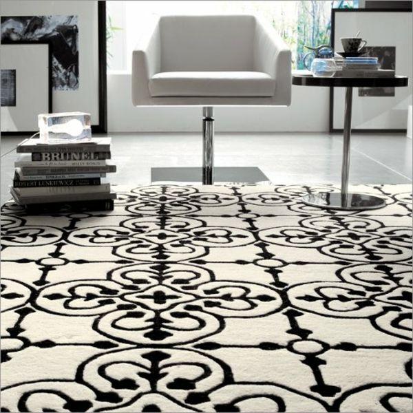 wohnzimmer teppich schwarz weißes muster beistelltisch Ideen - teppich fur wohnzimmer
