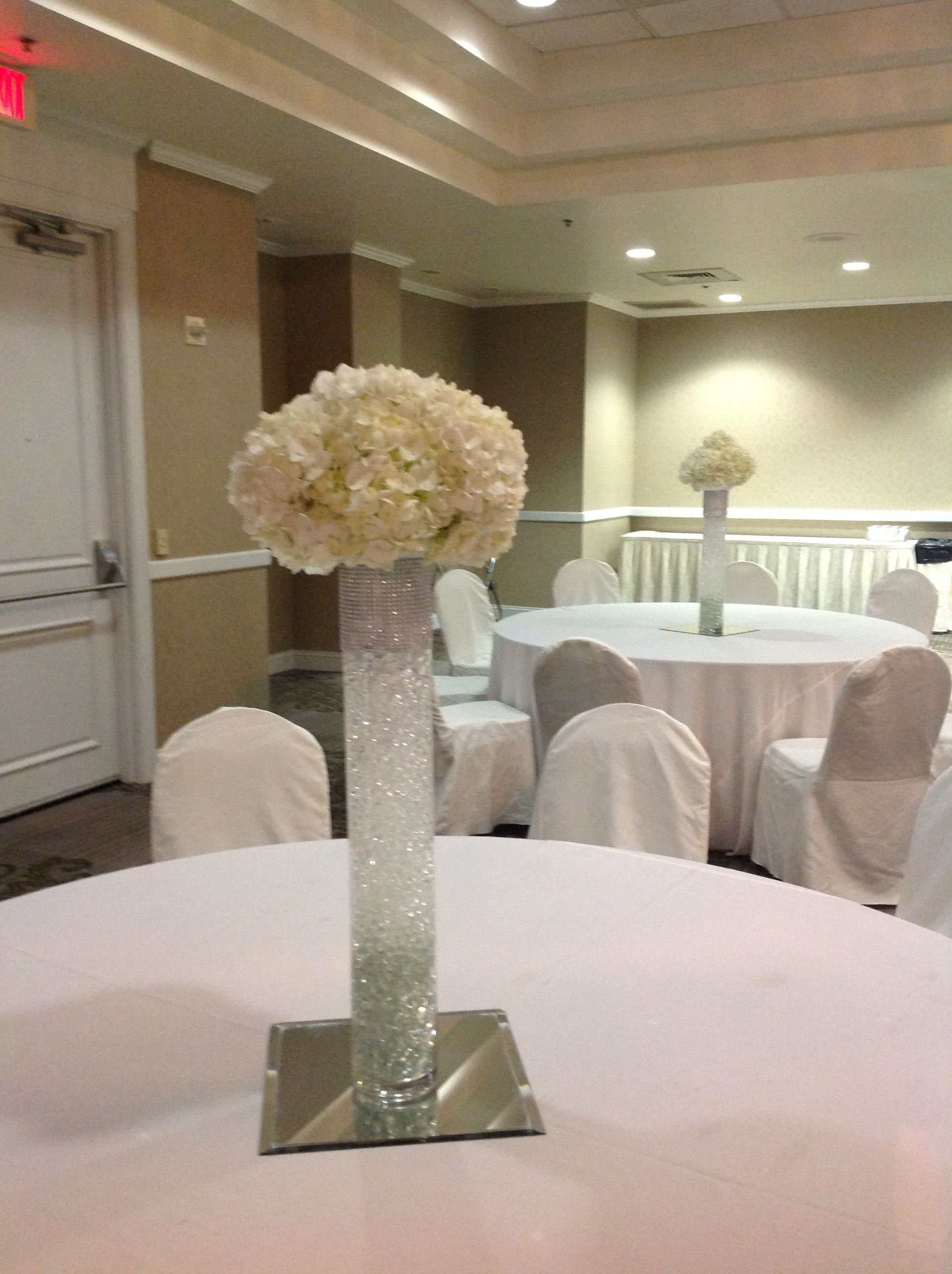 Cylinder vases wedding centerpieces images vases design picture beautiful mound of white hydrangea on top of a 24 cylinder vase beautiful mound of white reviewsmspy