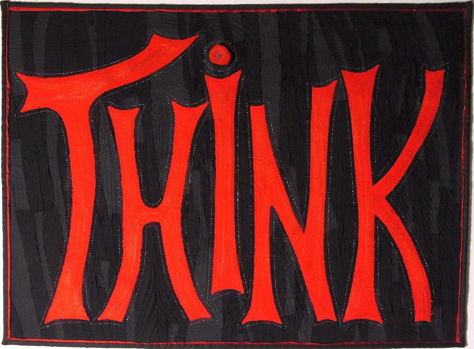 """Quilthexle's World: """"Think"""" - an Art Quilt shown in an exhibition with the theme """"Blues Brothers"""""""