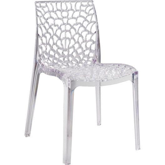 Chaise de jardin en résine, Grafic lux, couleur transparent | chaise ...