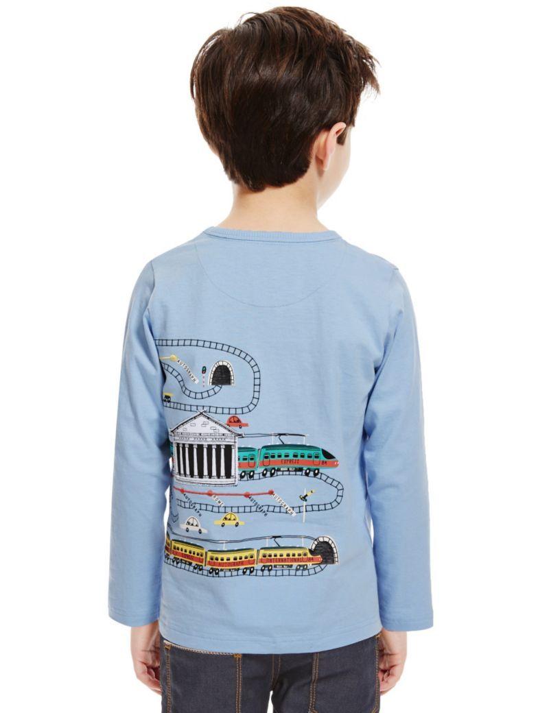 Pure Cotton Train Print T-Shirt (1-7 Years) | M&S