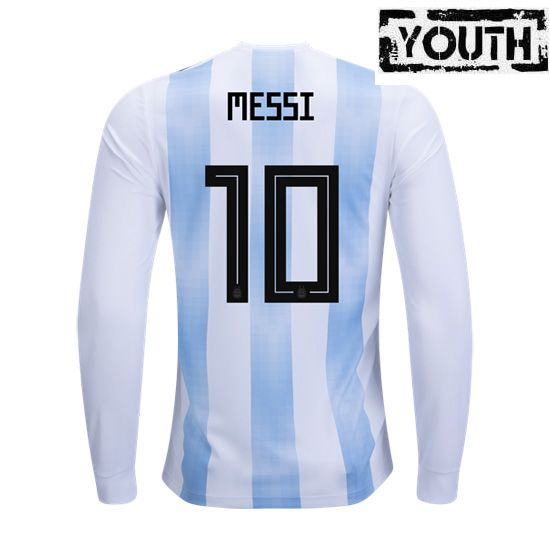 premium selection e43d2 c4d90 Lionel Messi Youth Home LS Soccer Jersey 2018 Argentina #10 ...