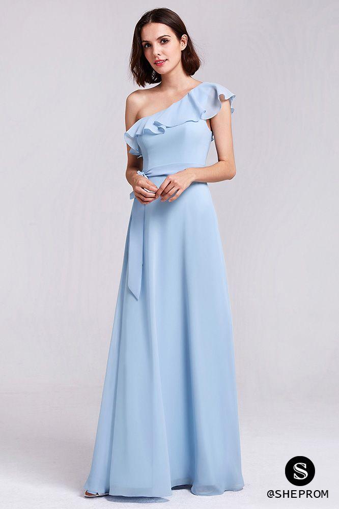 Light blue one shoulder long chiffon elegant bridesmaid dress. Shop with  cheap price and free shipping! 3c588f9b001e