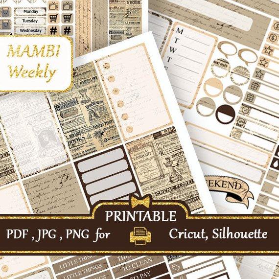 Mambi Happy Planner Printable 2018 Vintage Newspaper Stickers Happy Planner Weekly Kits Mambi Planne Mambi Happy Planner Happy Planner Weekly Planner Stickers