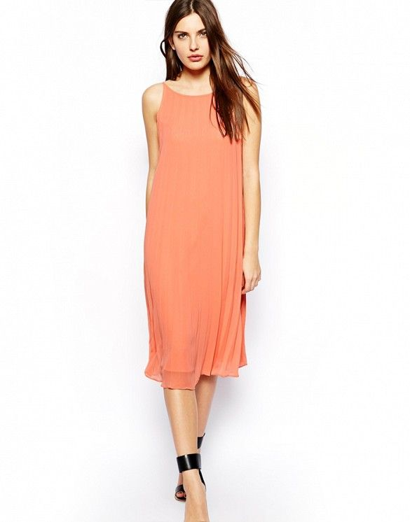 9228d75990c Brighten up your wardrobe with a cute coral-y dress.    Dress with Knife  Pleats by BCBGeneration